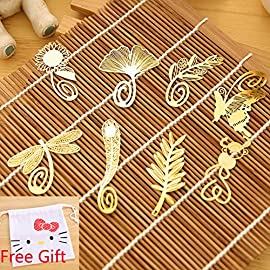 yueton Pack of 8 Cute Cartoon Art Feather Butterfly Dragonfly Gingkgo Monkey Pred Perry Sunflower Olive Branch Metal Gold Bookmarks Book Mark Reading New Novelty + Free Gift 42 Cute bookmarks for book reading Can be used as Bookmark / notebook label Beautiful and elegant bookmarks. It is also a beautiful decoration