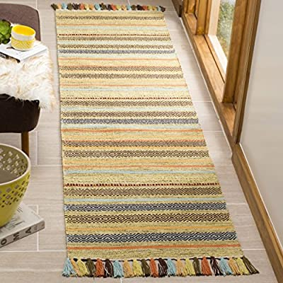 "Safavieh Montauk Collection MTK901G Green and Multi Runner (2'3"" x 8') - Casual style is versatile enough to integrate with any contemporary, modern, bohemian, and transitional styles of home décor Meticulously detailed artisan crafted hand-woven construction Made from soft cotton fibers - runner-rugs, entryway-furniture-decor, entryway-laundry-room - 61OgEyy6KBL. SS400  -"