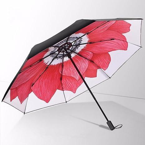 Paraguas Negro - Las Tres Paraguas Plegable/Creativo, Anti - UV, Alto Grado