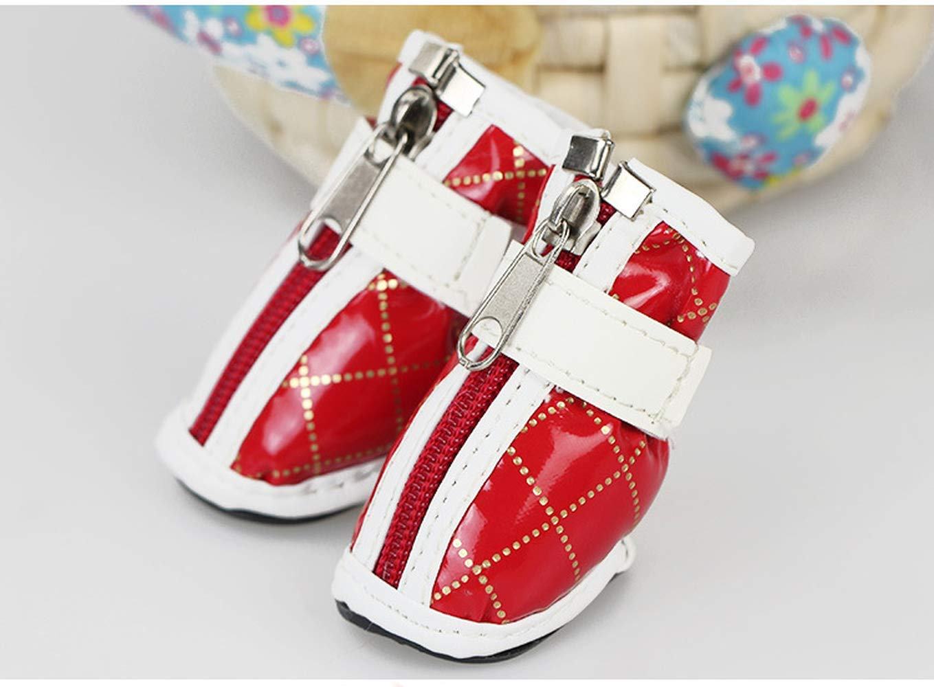 Yevison Warm PU Cotton Shoes Pet Paws Protector Anti-Skid Dog Boots Durable Pet Hiking Shoes
