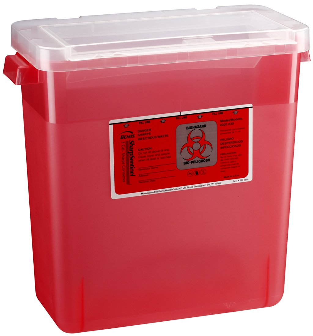 Bemis Healthcare 303030-12 3 gal Sharps Container, Translucent Red (Pack of 12)