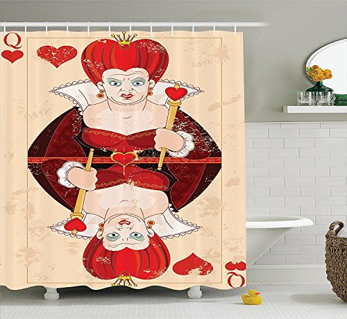 [Alice in Wonderland Decorations Shower Curtain Set Queen of Cards Playing Alice Character Flash Fiction Fairy Tale Bathroom Accessories Red Brown] (Alice In Wonderland Halloween Costumes Ebay)