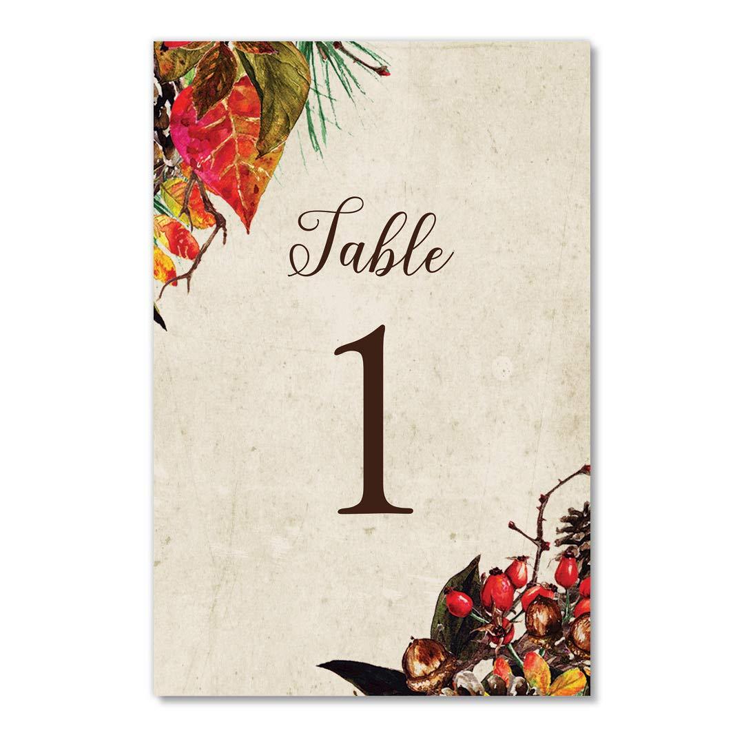 Thanksgiving Table Numbers 25 Count Pretty Autumn Single Sided 4