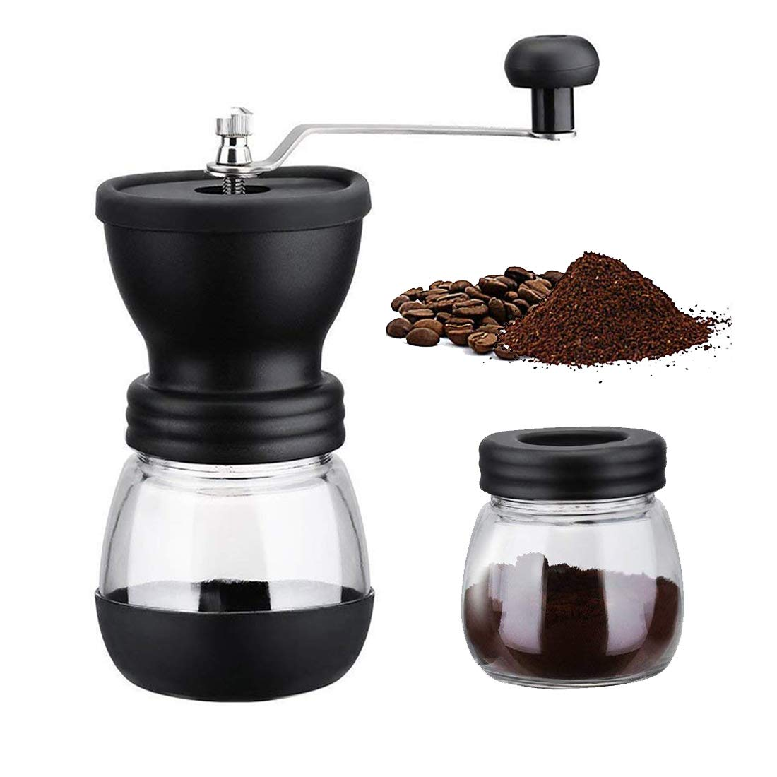 Angker Manual Coffee Grinder, Adjustable Ceramic Burr Manual Coffee Grinder with Glass Storage Tank for Espresso/Pour Over/French Press/Turkish Coffee Brewing