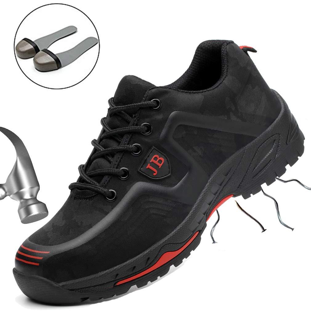 JACKSHIBO Homme Femme Chaussure de Travail Respirant Chaussure de 45 Sécurité Embout de Protection Protection en Acier Baskets 45 de EU|C-noirrouge 1df345