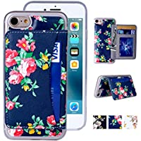 Misscase Flower Floral Flip Folio Magnetic Holster Wallet Case for iPhone 8, iPhone 7 with [Kickstand] [3 Credit Card Slots]
