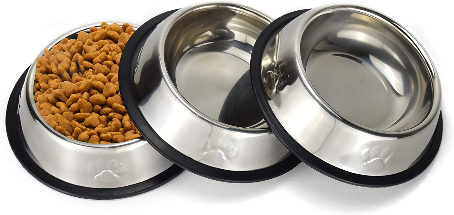 Sonyaer Stainless Steel Cat Bowls, Food and Water Cat Dishes Non Slip Stackable Pet Bowl for Cat, Kitten, Puppy, Small Dog (3 Pack - Cat Paw)