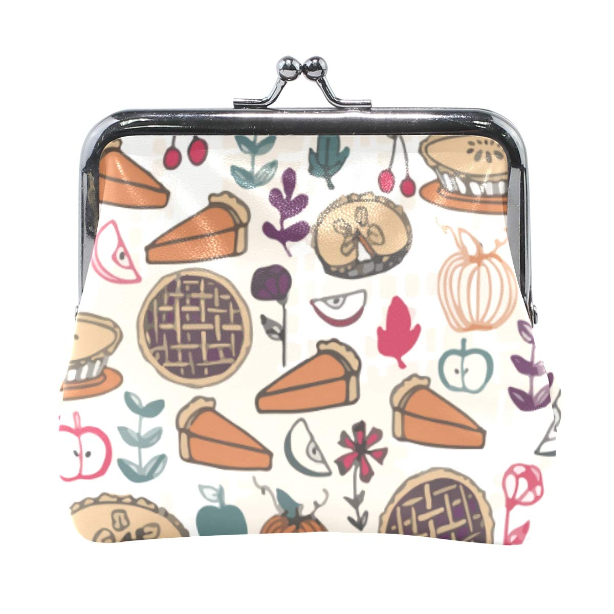 Thanksgiving Pumpkin Apple Pie Coin Purse Buckle Vintage PU Pouch Kiss-lock Wallet for Women Girl