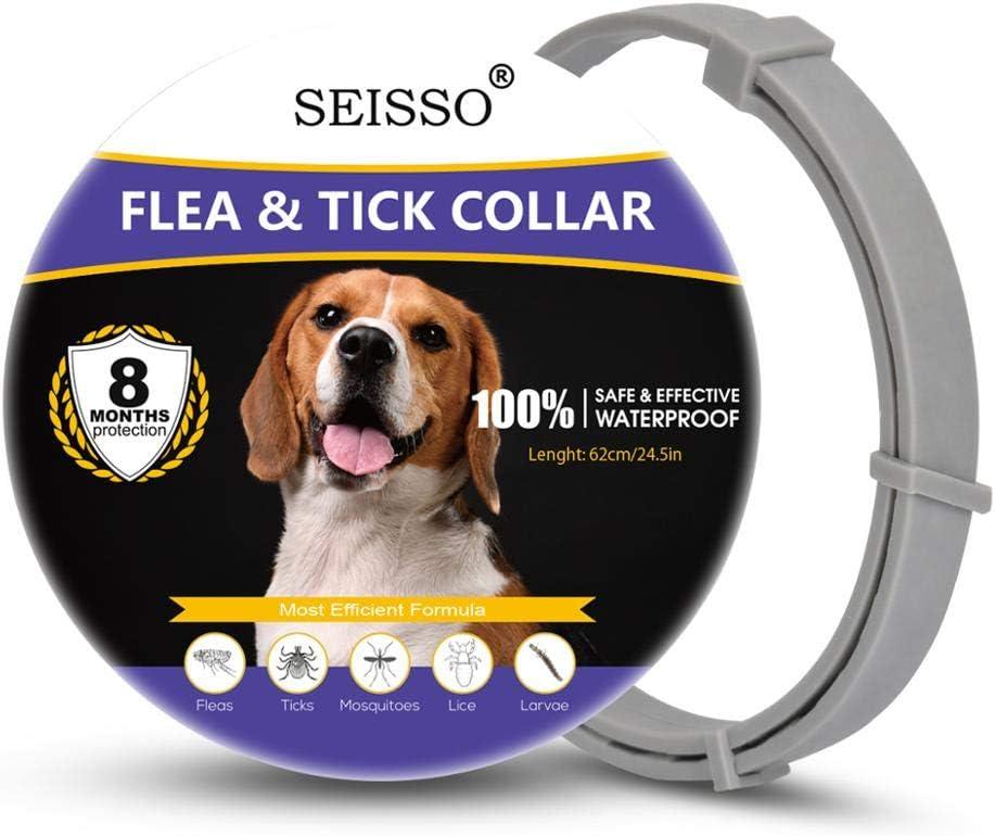 Seisso Collar Antiparasitos Perros y Gatos,contra Pulgas, Garrapatas y Mosquitos, 8 Meses de Protección