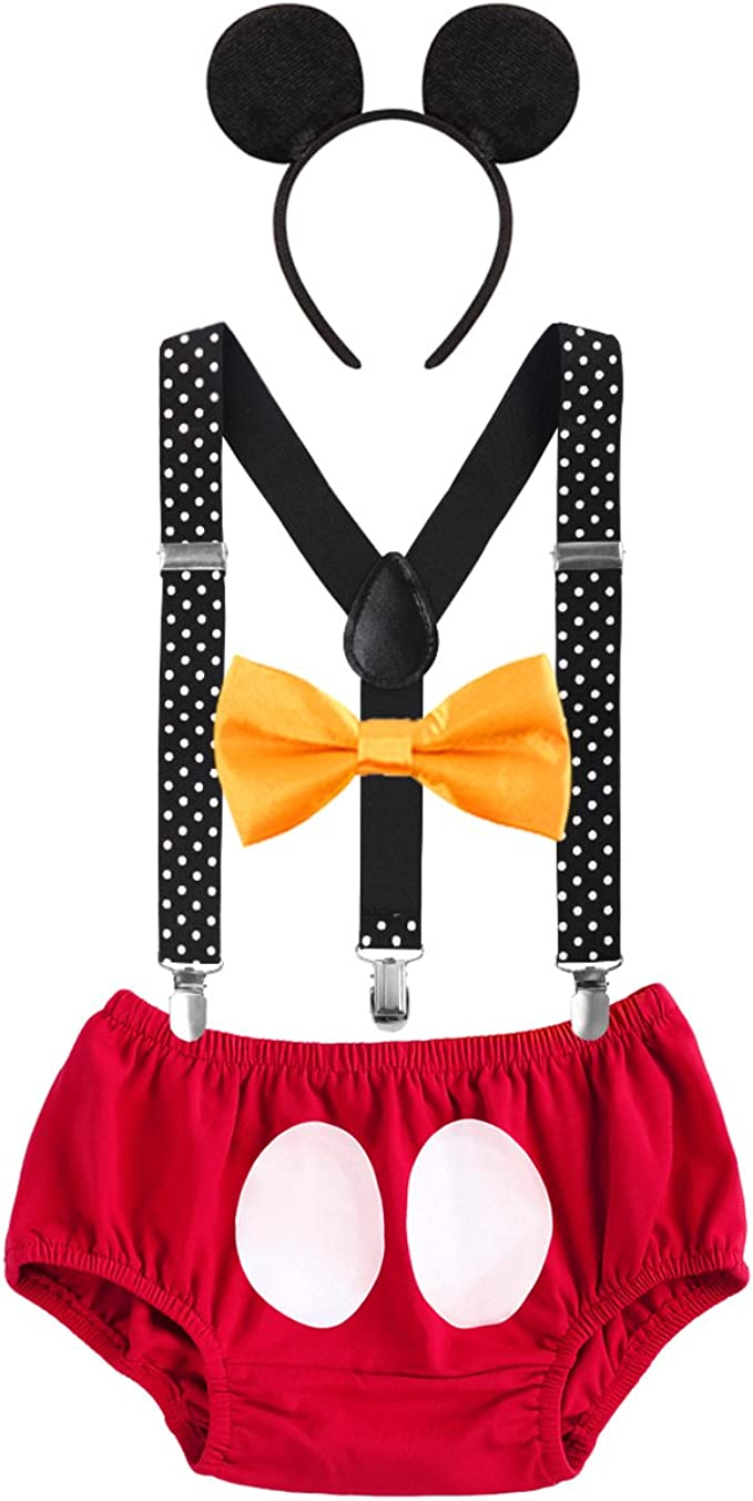 YiZYiF Baby Boys Cake Smash Set First Birthday Cotton Stretchy Bloomers Bow Tie Outfits Set SF10046902-10046897-US