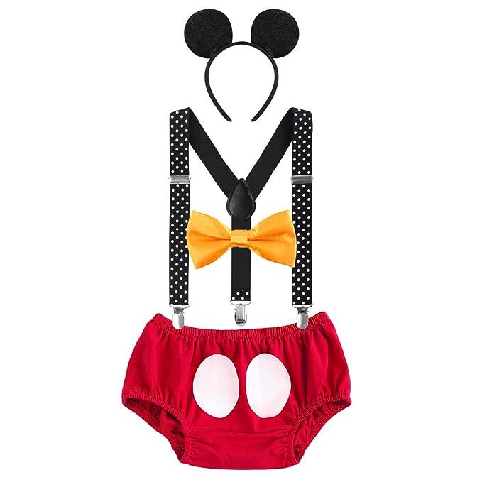Disfraz de Mickey Infántil Bebé Niños Niñas Lindo Ratón 1er/2do/3er Cumpleaños Halloween Traje Algodón Calzoncillos+Tirantes+Pajarita+Diadema de Oreja ...