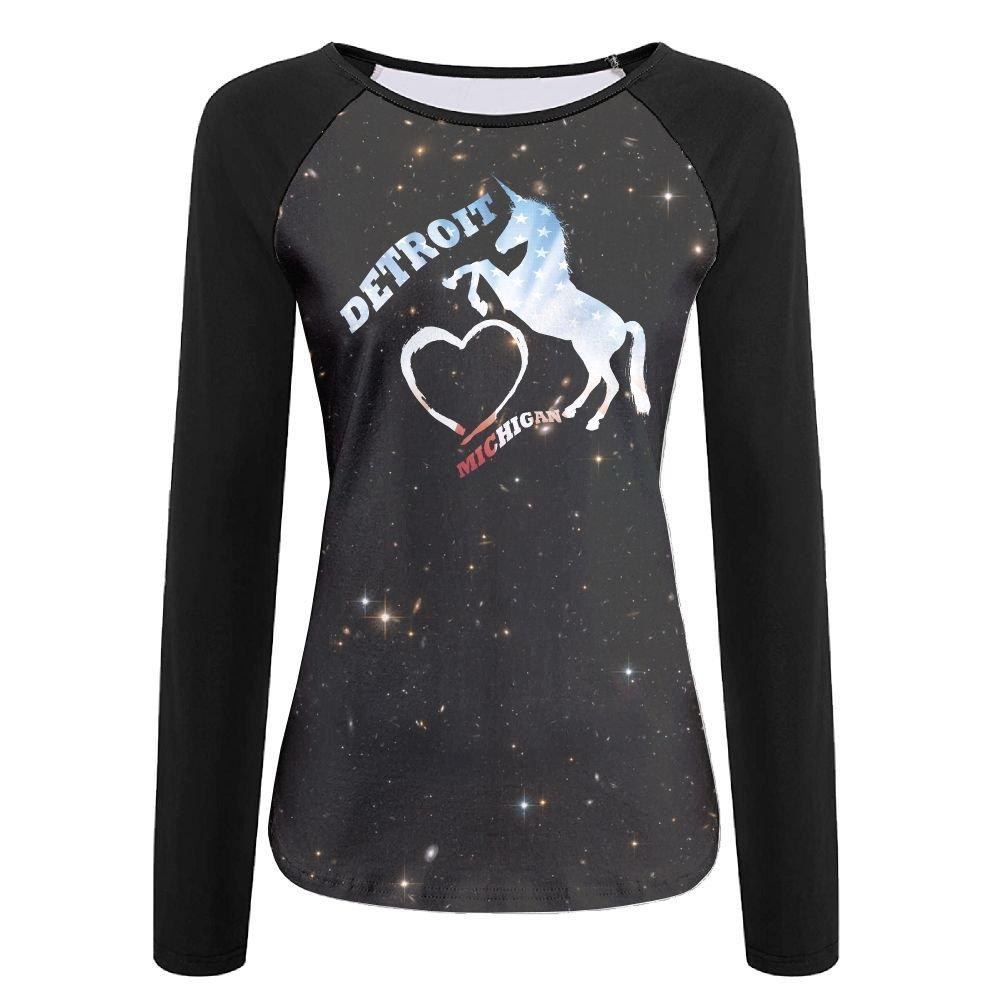 American Flag I Love Detroit Michigan Unicorn Womens Print Crew Neck Long Sleeve Raglan T-Shirt Baseball Tshirt