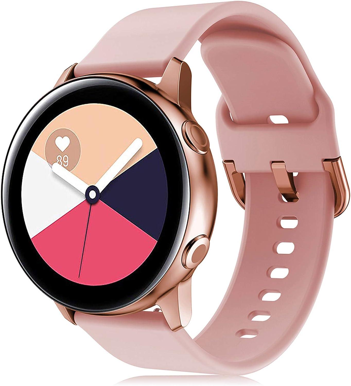 Onedream Correa Compatible con Samsung Galaxy Watch Active/Active 2 44mm 40mm Pulsera Silicona Mujer Hombre, Repuesto Compatible con Samsung Galaxy Watch 42mm/ Galaxy Watch 3 41mm Rosa