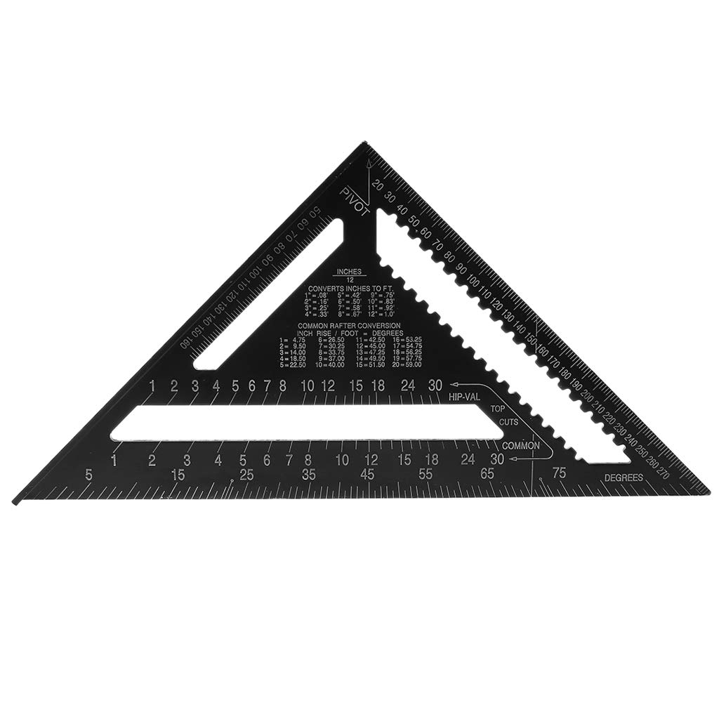 ZOOMY 12Inch Aluminum Alloy Metric Triangle Ruler Angle Protractor Speed Square Woodwork Protractor Gauge High Precision