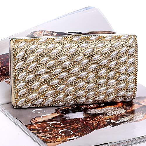 Bag Banquet Fashion Pearl Hand Party Bag Golden Atmosphere Cosmetic Handbag Drill JUZHIJIA Luxurious Evening Nightclub wqYfxO1gg