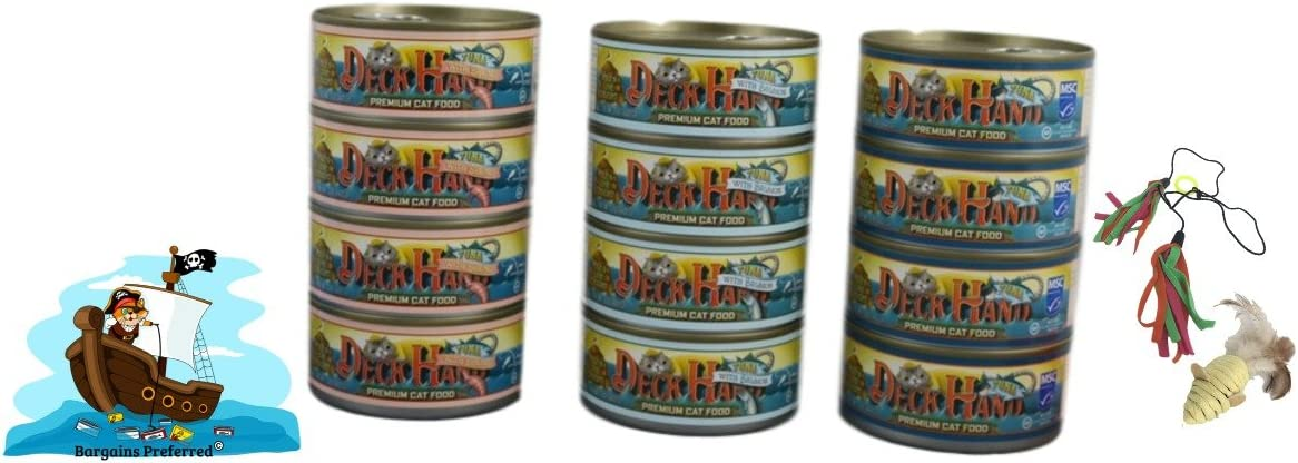 Deck Hand Premium Cat Food. Pole & Line Caught Wet Cat Food with Toys. Variety 12 Pack Canned Cat Food with 3 Tantalizing Flavors. Pure Tuna, Salmon, and Shrimp with No Fillers or Artificial Additives