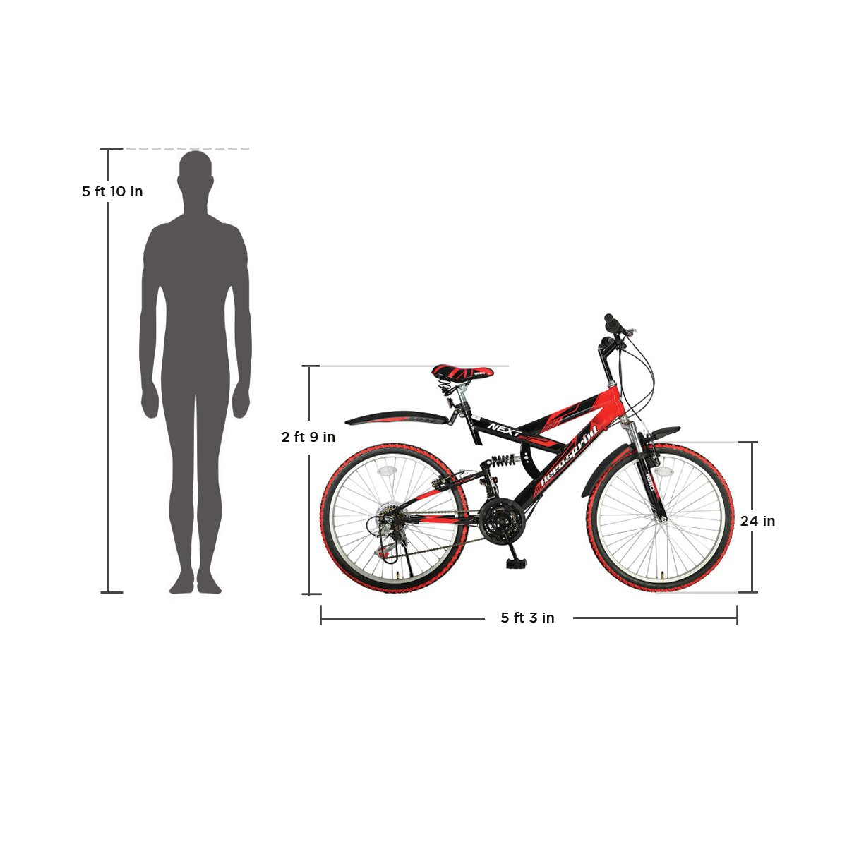 5c68e02098f Buy Hero Next 24T 18 Speed Mountain Cycle (Red/Black) Online at Low Prices  in India - Amazon.in