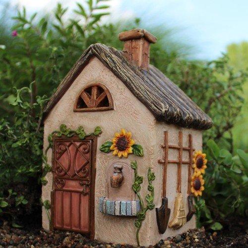 Miniature Fairy Garden Sunflower Workshop and 7 piece accessories starter kit (bundle) by WFG. Create Your Own Magical Fairy Garden.