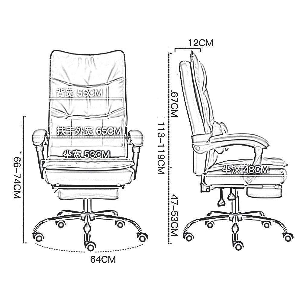 HUIYUAN stol dubbel förtjockning PU-läder stoppning skrivbordsstol 155° liggande med fotstöd rörlig korsryggskudde bärvikt 150 kg (färg: Khaki) Svart