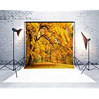 7x5ft Microfiber Yellow Leaves Fall Backdrop Seamless No Creases Folding and Washable Photo Booth Background