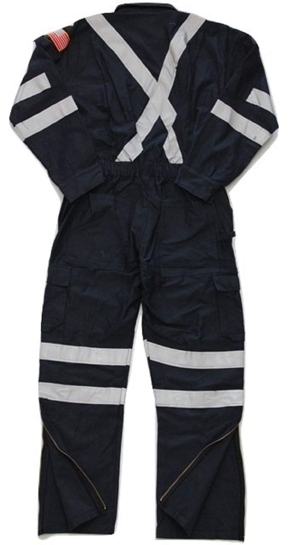 Premium High Visibility Hi Vis Coveralls with Leg Zipper (5XL - Regular, Navy Blue) by Just In Trend (Image #2)