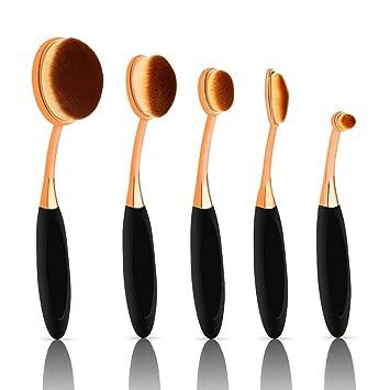 6142d2bb3403 Oval Makeup Brush Set 5 pcs Foundation Eyeshadow Contour Highlighter  Toothbrush Face Blush Eye...