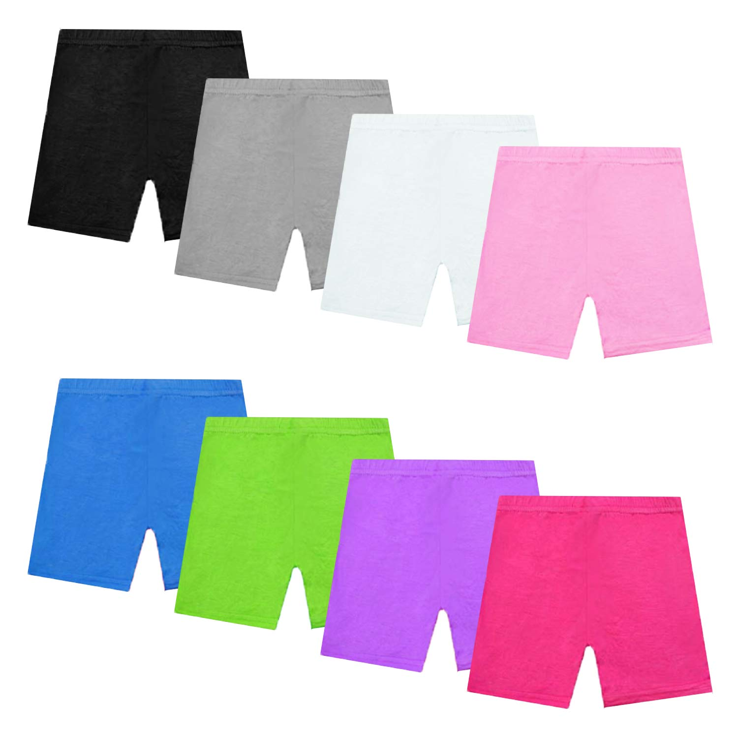 NEWITIN 8 Pack Dance Shorts Girls Bike Short Breathable Comfortable and Safety