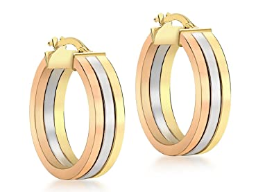 Adara 9 ct Gold Three-Colour Creole Earrings ft6zePe