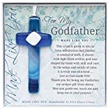 The Grandparent Gift Handmade Glass God Father Cross Frame, Blue, Beige