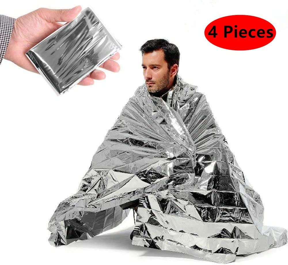4 Pack Extra Large Thermal Mylar Foil Space Blanket Heat Sheets for Camping ROYAL WIND Emergency Blankets Marathon Running Hiking First Aid Kits Bug Out /& Outdoor Survival Gear Prepper