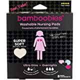 Bamboobies Nursing Pads for Breastfeeding   Reusable Breast Pads   Perfect Baby Shower Gifts   3 Regular and 1 Overnight Pairs