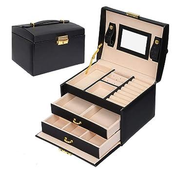 Sonnis Jewellery Box, Caja Joyero con Caja de Joyas,Caja Joyero Organizador, Joyero Caja Almacenamiento con 3 cajones Cuero PU con Espejo y Cerradura ...
