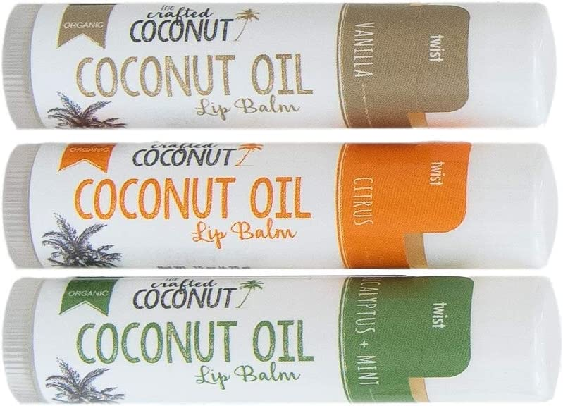 Organic Coconut Oil Lip Balm, Blended with Essential Oils - Eucalyptus + Mint, Vanilla, Citrus