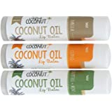 The Crafted Coconut   Organic Coconut Oil Lip Balm, Blended with Essential Oils - Eucalyptus + Mint, Vanilla, Citrus   Trio (3 Tubes in Pack)