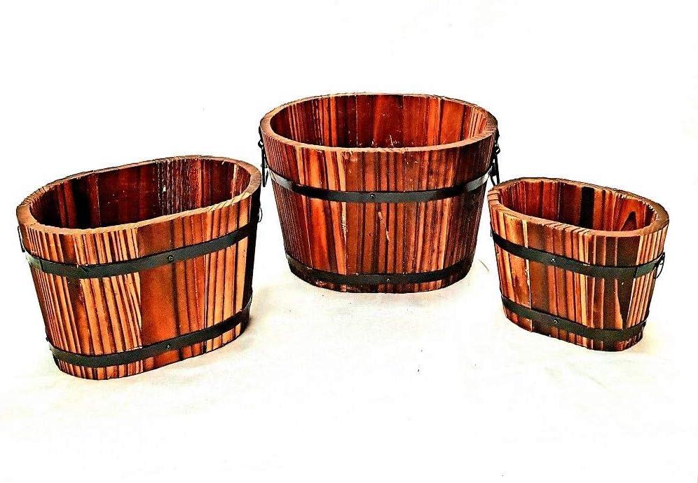 Set of 3 Rustic Brown Wooden Barrel Planter Display Home Decor Box Handles