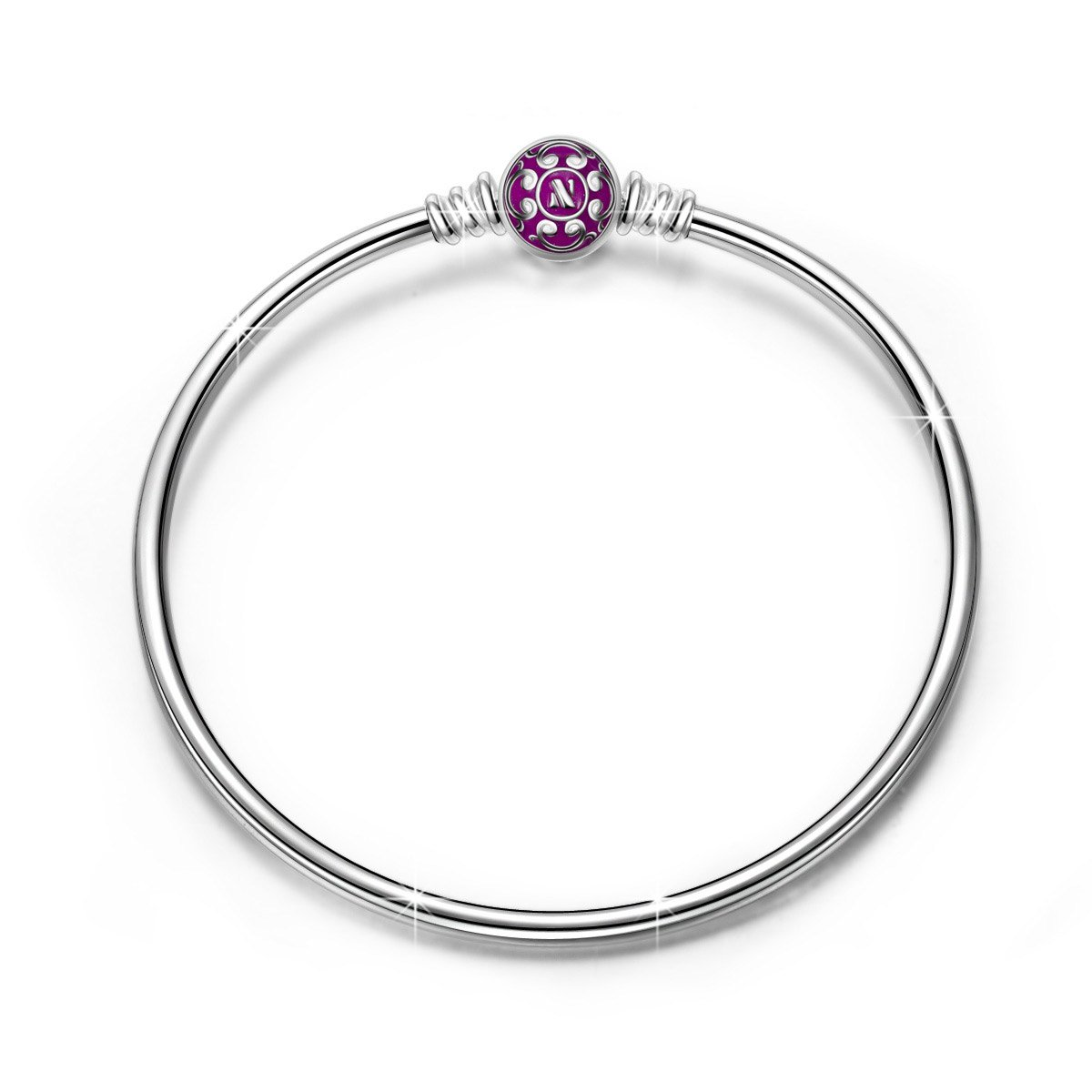 NINAQUEEN 925 Sterling Silver Bangle Bracelet with Purple Snap Clasp 7.5 Inches, Birthday Anniversary for Women Wife Bracelets for Charms Teen Girls