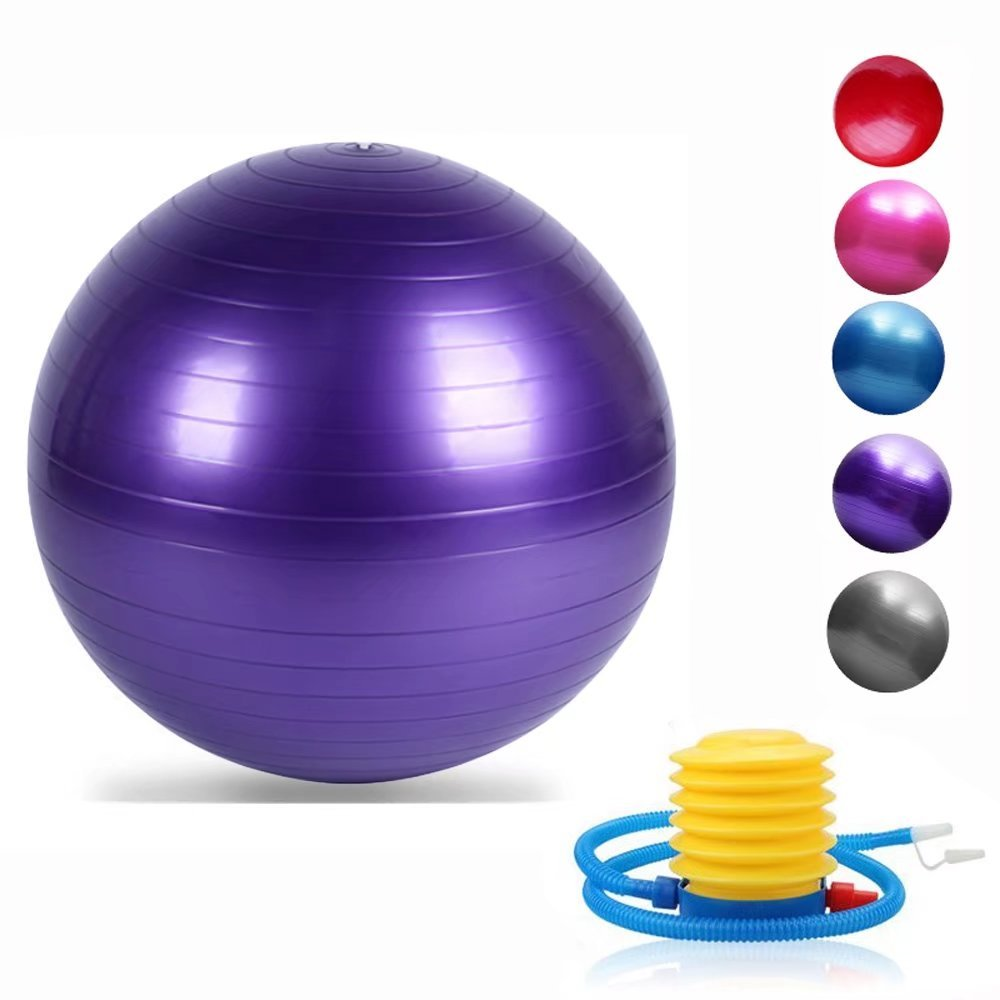 Yoga Exercise Ball with Quick Foot Pump Professional Grade Anti Burst & Slip Resistant Balance Ball for Workout Balance Fitness(Purple 45)