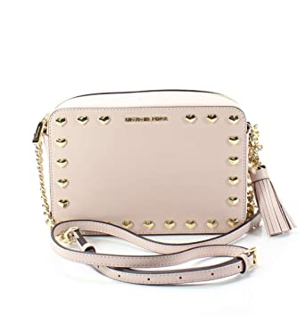 15eee4ffab5d Amazon.com  Michael Kors Medium Ginny Heart Studded Camera Bag - Soft Pink   Clothing