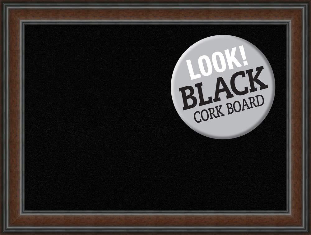 Framed Black Cork Board Large, Cyprus Walnut: Outer Size 33 x 25''