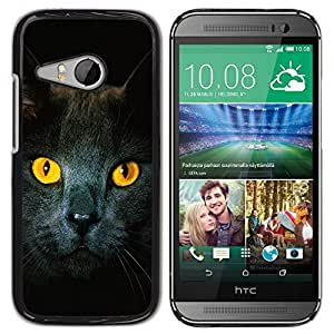 YiPhone /// Prima de resorte delgada de la cubierta del caso de Shell Armor - Cat Yellow Eyes Grey British Shorthair - HTC ONE MINI 2 / M8 MINI