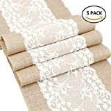 Newdanceus 12X108'' Set of 5 Burlap Lace Hessian Table Runner Rustic Natural Jute Country Wedding Party Dining Table Decoration Farmhouse Decor