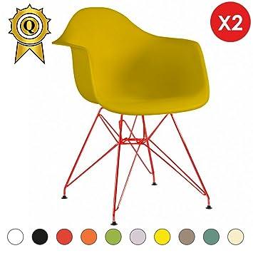 MOBISTYL 2 X Fauteuil Design Inspiration Eiffel Pieds Acier Rouge Assise  Jaune Flash DARR YF