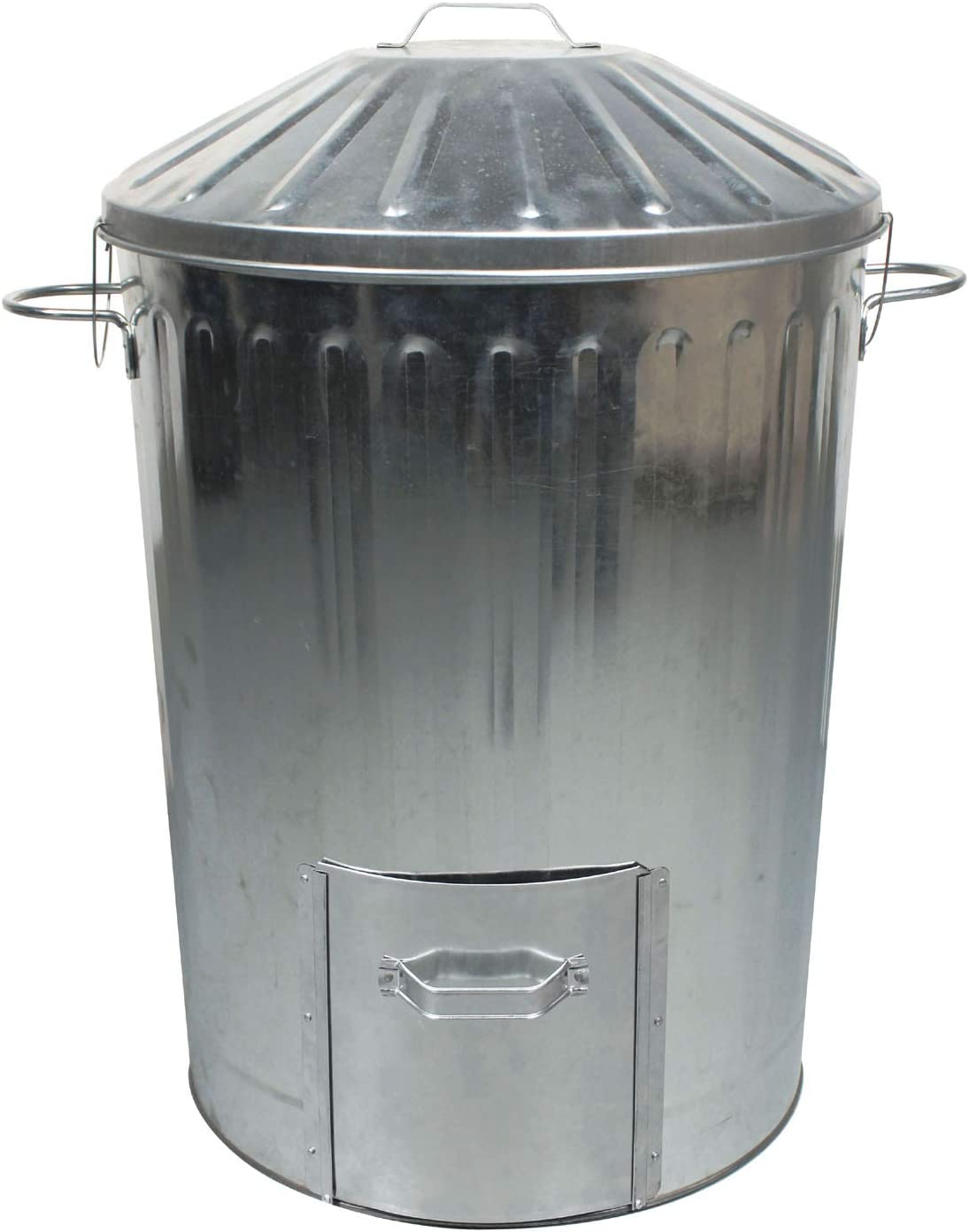 1 x 90L 90 Litre Galvanised Metal Dustbin with Door Hatch and Locking Lid - Garden Allotments Recycling Composter Bin