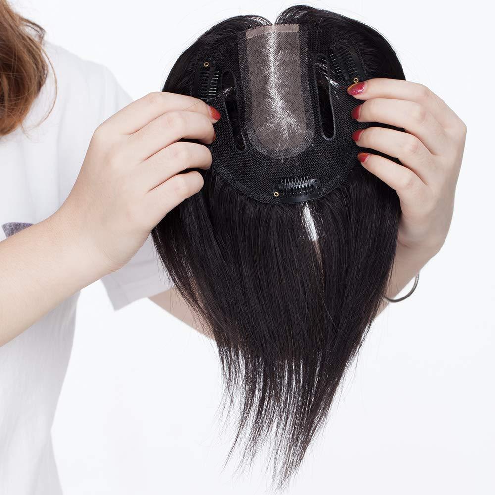 Extensiones de Cabello Natural Clip Prótesis Capilar Mujer Ampliar el Volumen en La Coronilla 100% Remy Flequillo Postizo Pelo Humano Hair Toppers ...