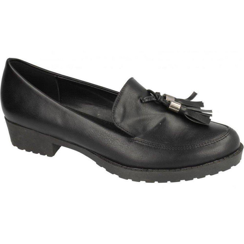 Spot On Childrens Girls Tassel Trim Flat Loafers (US Size 2 Junior) (Black)