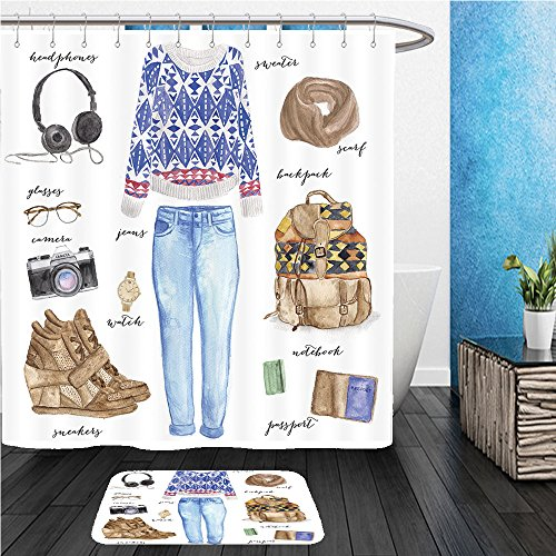 Beshowereb Bath Suit: ShowerCurtian & Doormat fashion illustration clothing set trendy autumn outfit - Show Fashion Macy