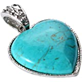 Yazilind Jewellery Heart Vintage Turquoise Necklace Pendants for Women Without Chain Tibetan Sliver
