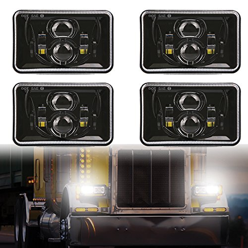 4 PCS DOT Approved Rectangular 4x6 inch LED Headlights Replacement H4651 H4652 H4656 H4666 H6545 For Kenworth T800 T600 Peterbilt 379 Feightliner Ford Probe Chevrolet Oldsmobile Cutlass Black