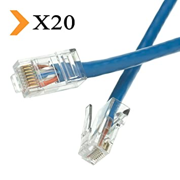 5 Pack 5Ft Cat5e Ethernet RJ45 Lan Wire Network Blue UTP 5 Feet Patch Cable