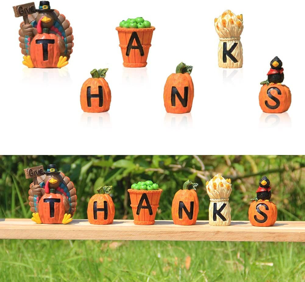 FORUP Carved Give Thanks Turkey Decoration, Decorative Accessories Turkey, Pumpkins, Apples and Haystack for Autumn Fall Thanksgiving Harvest Home Decor
